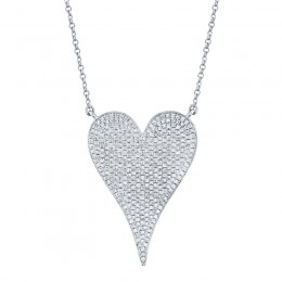 0.83ct 14k White Gold Diamond Heart Necklace