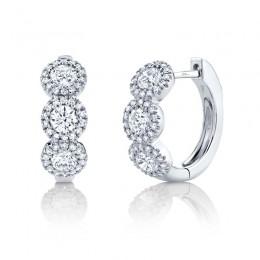 1.10ct 14k White Gold Diamond Huggie Earring