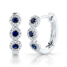 0.15ct Diamond & 0.30ct Blue Sapphire 14k White Gold Huggie Earring
