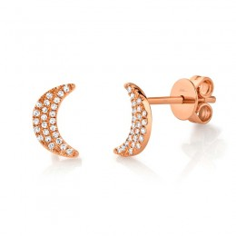 0.11ct 14k Rose Gold Crescent Moon Stud Earring