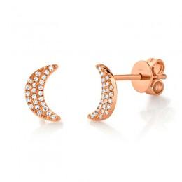 0.11ct 14k Rose Gold Crescent Moon Stud Earring