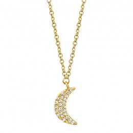 0.06ct 14k Yellow Gold Crescent Moon Necklace