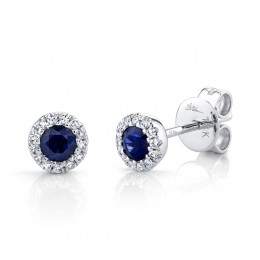 0.08ct Diamond & 0.28ct Blue Sapphire 14k White Gold Stud Earring