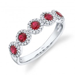 0.20ct Diamond & 0.66ct Ruby 14k White Gold Band