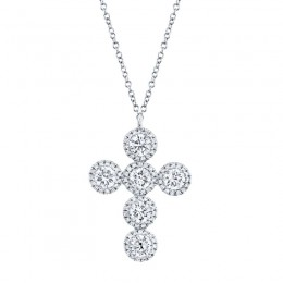 1.42ct 14k White Gold Diamond Cross Necklace