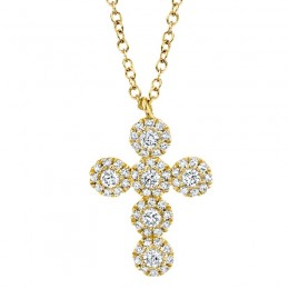 0.25ct 14k Yellow Gold Diamond Cross Necklace