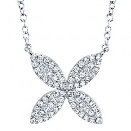 0.20ct 14k White Gold Diamond Flower Necklace