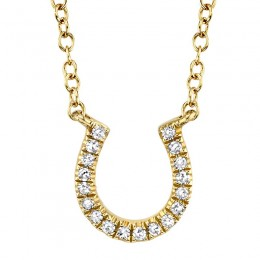 0.06ct 14k Yellow Gold Diamond Horseshoe Necklace