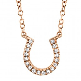 0.06ct 14k Rose Gold Diamond Horseshoe Necklace