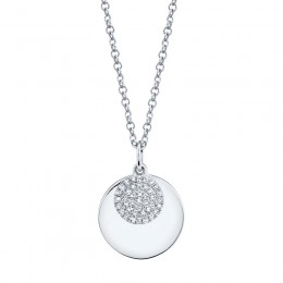 0.09ct 14k White Gold Diamond Circle Necklace