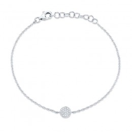 0.05ct 14k White Gold Diamond Pave Circle Bracelet
