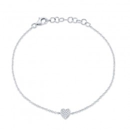0.04ct 14k White Gold Diamond Pave Heart Bracelet