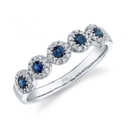 0.16ct Diamond & 0.31ct Blue Sapphire 14k White Gold Lady