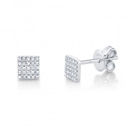 0.11ct 14k White Gold Diamond Pave Square Stud Earring