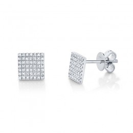 0.22ct 14k White Gold Diamond Pave Square Stud Earring