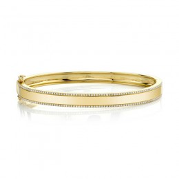 0.47ct 14k Yellow Gold Diamond ID Bangle