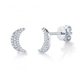0.11ct 14k White Gold Crescent Moon Stud Earring