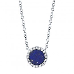 0.04ct Diamond & 0.33ct Lapis 14k White Gold Necklace