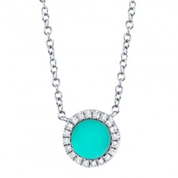 0.04ct Diamond & 0.33ct Composite Turquoise 14k White Gold Necklace