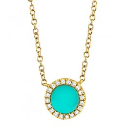 0.04ct Diamond & 0.33ct Composite Turquoise 14k Yellow Gold Necklace