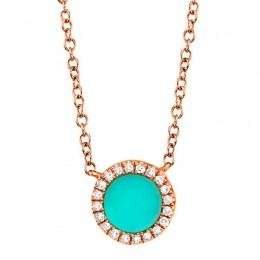 0.04ct Diamond & 0.33ct Composite Turquoise 14k Rose Gold Necklace