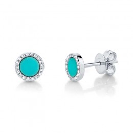 0.08ct Diamond & 0.47ct Composite Turquoise 14k White Gold Stud Earring