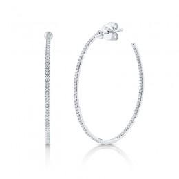 0.36ct 14k White Gold Diamond Hoop Earring