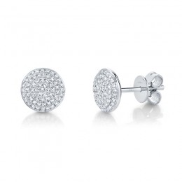 0.36ct 14k White Gold Diamond Pave Circle Stud Earring