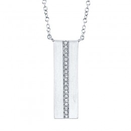 0.06ct 14k White Gold Diamond Bar Necklace