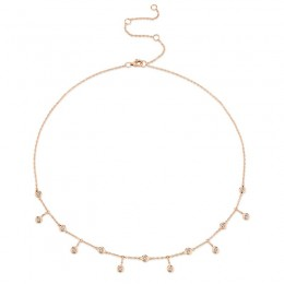 0.34ct 14k Rose Gold Diamond Shaker Necklace