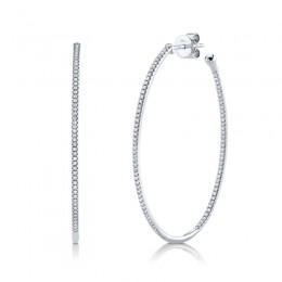 0.46ct 14k White Gold Diamond Oval Hoop Earring