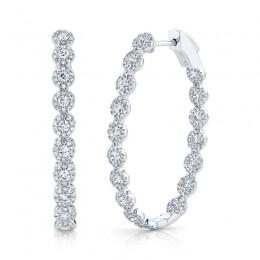 2.05ct 14k White Gold Diamond Oval Hoop Earring