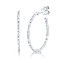 0.26ct 14k White Gold Diamond Oval Hoop Earring