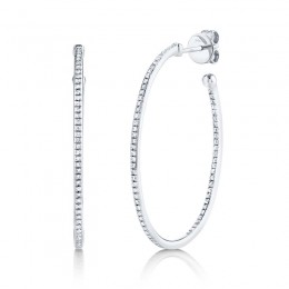 0.35ct 14k White Gold Diamond Oval Hoop Earring