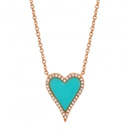 0.09ct Diamond & 0.69ct Composite Turquoise 14k Rose Gold Heart Necklace