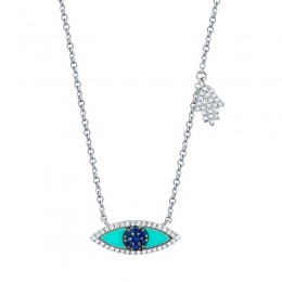 0.13ct Diamond & 0.38ct Blue Sapphire & Composite Turquoise 14k White Gold Eye & Hamsa Necklace