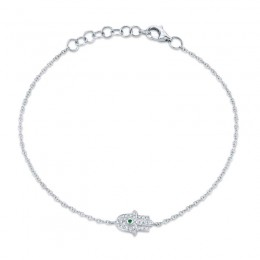 0.08ct Diamond & 0.01ct Emerald 14k White Gold Hamsa Bracelet