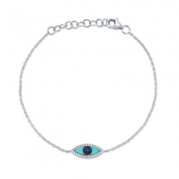 0.06ct Diamond & 0.20ct Blue Sapphire & C. Turquoise 14k White Gold Eye Bracelet