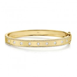 0.97ct 14k Yellow Gold Diamond Bangle