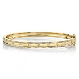 0.62ct 14k Yellow Gold Diamond Bangle