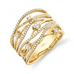 0.49ct 14k Yellow Gold Diamond Bridge Ring