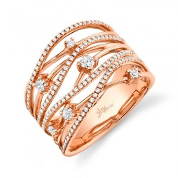 0.49ct 14k Rose Gold Diamond Bridge Ring