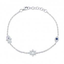 0.15ct Diamond & 0.06ct Blue Sapphire 14k White Gold Hamsa Star Eye Bracelet