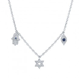 0.15ct Diamond & 0.06ct Blue Sapphire 14k White Gold Hamsa Star Eye Necklace