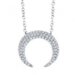 0.20ct 14k White Gold Diamond Pave Crescent Necklace