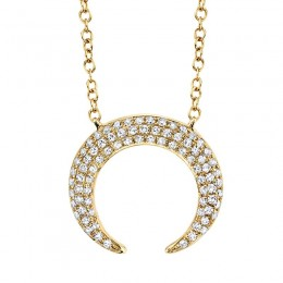 0.20ct 14k Yellow Gold Diamond Pave Crescent Necklace