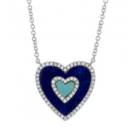 0.17ct Diamond & 0.96ct Lapis & Composite Turquoise 14k White Gold Heart Necklace