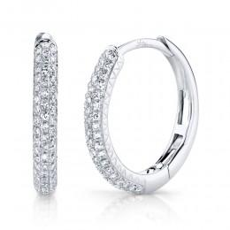 0.21ct 14k White Gold Diamond Pave Hoop Earring