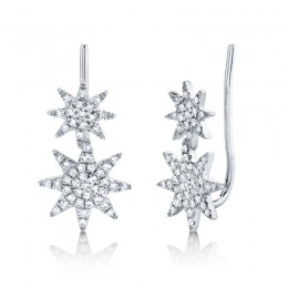 0.22ct 14k White Gold Diamond Pave Star Ear Crawler Earring