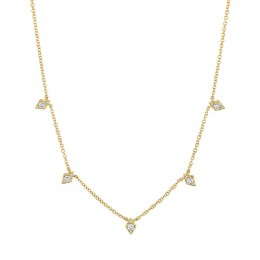 0.19ct 14k Yellow Gold Diamond Necklace
